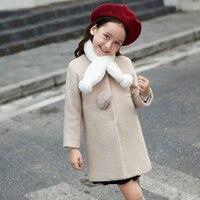 2017 Auntumn Winter Girls Woolen Coat Ivory Lavender Jacket Children Windbreaker Baby Toddlers Age 56789 10 11 12 13 14Years Old
