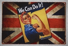 1 pc We can do it UK BRITAIN motivation London Tin Plate Sign wall man cave Decoration Man Art Poster metal vintage