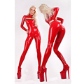 Women sexy red latex catsuit open breast with socks for adult feish rubber bodysuit plus size hot sale Customize Service
