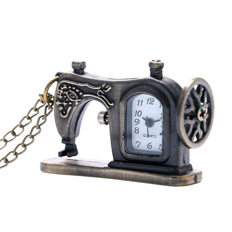 Retro Bronze Sewing Machine Theme Quartz Pocket Watches Cool Design Fob Watch Pendant Necklace Chain For Women Children Gift