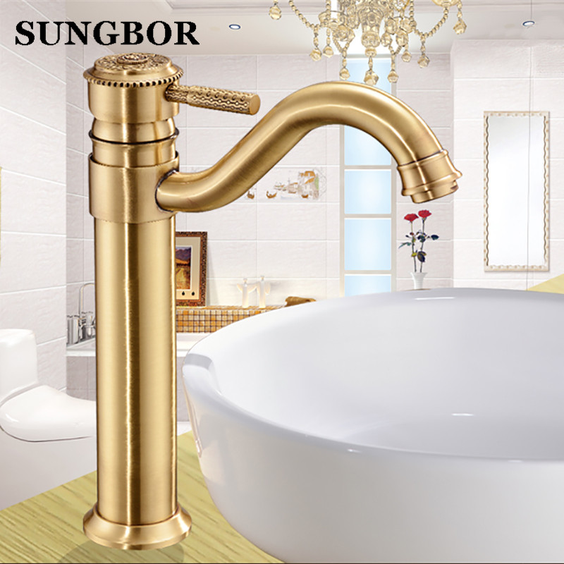 Free Shipping bathroom faucet antique bathroom basin faucet ,Luxury basin sink faucet basin mixer High Quality Luxury water tap golden bathroom basin led faucet water