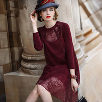 Lace Dress 2016 New Women Autumn Party Dress Casual Dresses Sexy Three Quarter Sleeve Vestidos