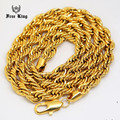 """6mm-10mm Thick 24""""-30""""inch Long Solid Rope Twisted Chain 24K Gold Plated Hip hop Twisted HEAVY DOOKIE Necklace 160gram"""
