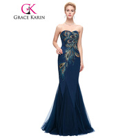 Grace Karin Evening Dress 2016 New Long Navy Blue Mermaid Evening Gowns Strapless Sweetheart Peacock Special