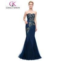 Grace karin vestido de noite 2017 novo longa azul marinho sereia vestidos de noite strapless do querido pavão vestidos especiais da ocasião