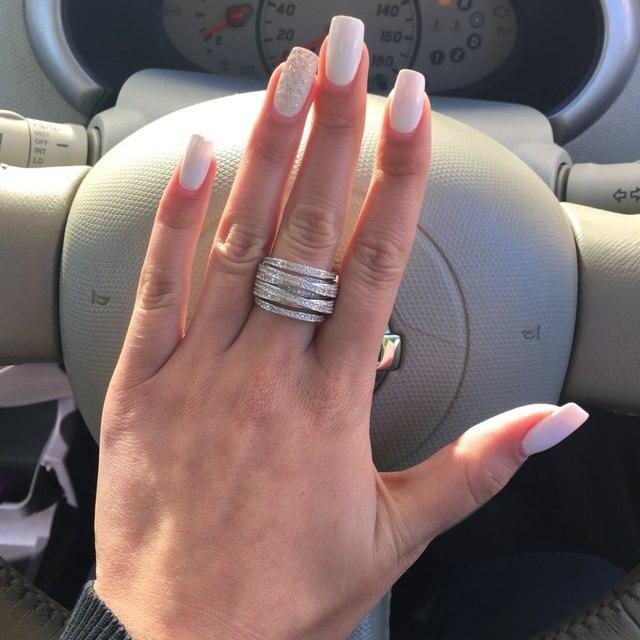 MECHOSEN Lusso Cubic Zirconia Anelli di Barretta Accessori Multistrato Argento Colore Donna Uomo Da Sposa Aros Schmuck Anillo Anel Bague
