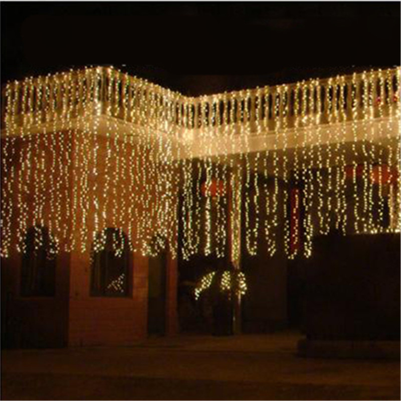Christmas Wedding LED 6x1m Curtain String Light Outdoor Garden Waterproof Night Lighting Holiday Party Flashing Garland Decor цена