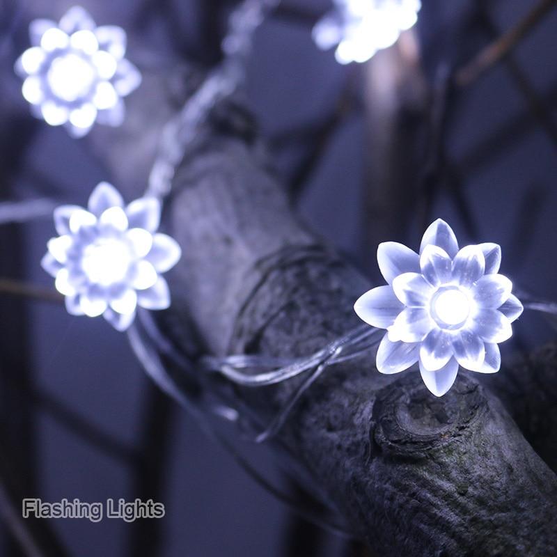 220V 5M 28LED Christmas String Lights Lotus Flower Garland Light For Wedding Garden Outdoor Decoration Fairy Lights Home Decor