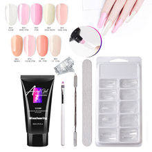 Misscheering Nail Extension Glue Polish Women Multicolor New 30ML Poly False Nails Double-end Skin Nail Pusher Clip Set 19L0618(China)
