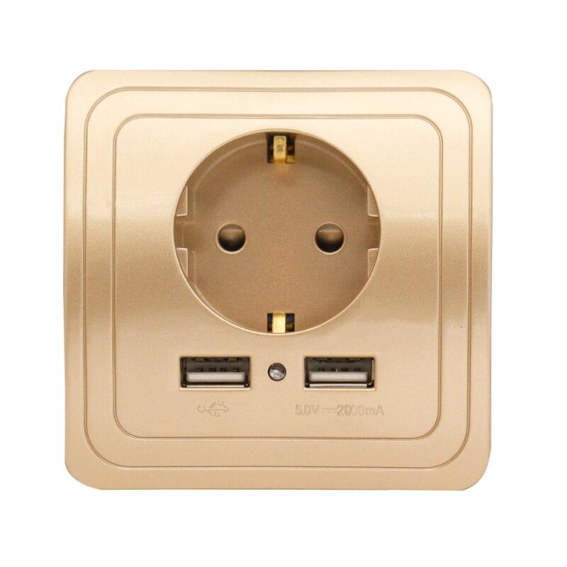 Minitiger Socket with usb wall outlet 5V 2A Dual Wall Socket eu Ports Charger 16A 250V kitchen plug socket Electrical Outlet