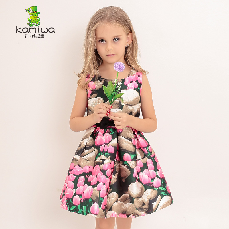 ФОТО KAMIWA 2017 Summer Style 3D Printing Dyeing Princess Party Teenage Girls Dresses Brand Sleeveless Children Clothing Kids Clothes