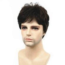 Strong beauty perruque synthétique complète pour hommes, perruque naturelle courte et lisse brune foncée