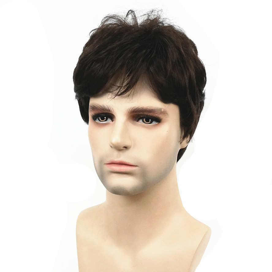 StrongBeauty Men Wig Dark Brown Natural Short Straight Hair Synthetic Full Wigs