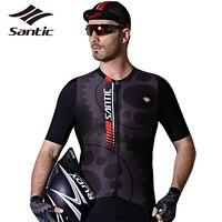 SANTIC Men Slim Fit Bicycle T Shirt Ciclismo Dry Fit Bike Zipper Jerseys MTB Road Cycling Pro Team Top Short Sleeve Jersey