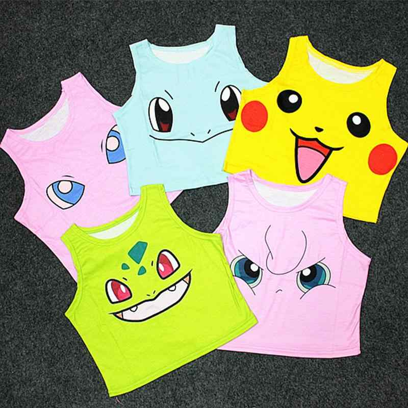 Women's Squirtle Jigglypuff Pikachu AA style Bustier Crop Top Sexy Camisole 3D Pokemon cartoon Print cropped tank Top A-003