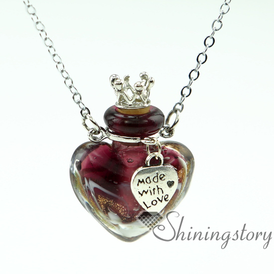 Glass Bottle Pendants Heart aromatherapy jewelry scents oil diffusing necklace small heart aromatherapy jewelry scents oil diffusing necklace small perfume bottle pendant necklace diffusers small glass bottles in pendants from jewelry audiocablefo