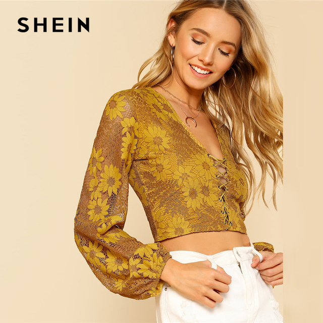 55a87603850 SHEIN Grommet Crisscross Floral Crop Top Ginger Deep V Neck Puff Sleeve  Women Slim Lace Blouse 2018 Sexy Long Sleeve Blouse