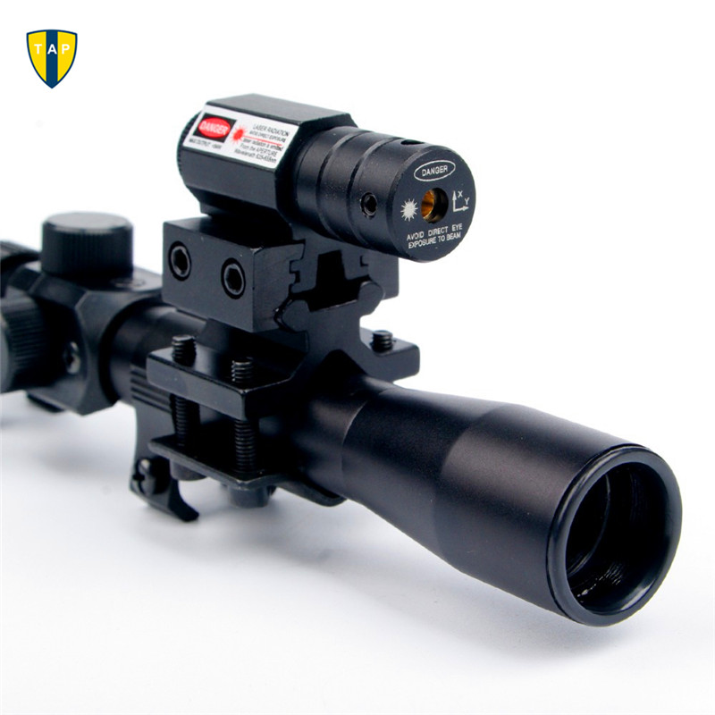 4x20 Air Gun Rifle Optics Scope Caza Tactical Riflescope +20mm Rail Mounts +Red Dot Laser Sight For Hunting Airsoft Supplies