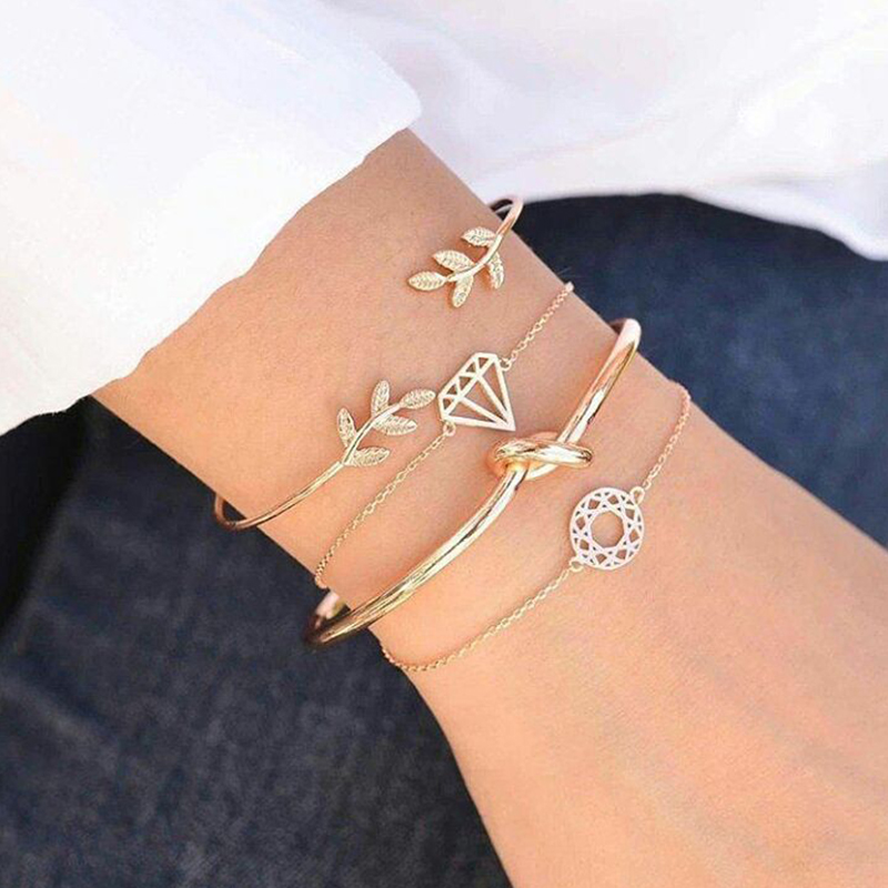 4 Pcs/ Set Bohemian Leaves Knot Round Chain Opening Gold Bracelet Set  Fashion Apparel Jewelry Valentines Day Gift
