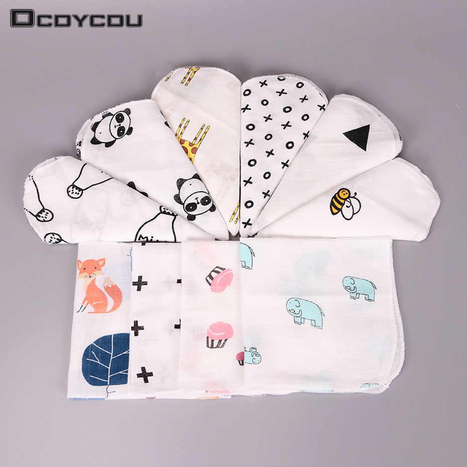 10 piezas niños bebé Toalla de dibujos animados pañuelo de algodón Toalla de muselina pañuelos de dos capas limpian pañuelos 28X28cm
