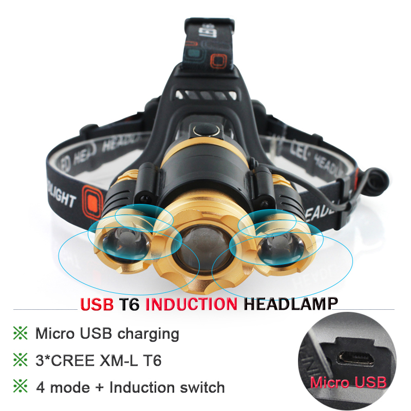 Induction headlamp rechargeable USB zoom cree xml 3t6 led head lamp headlight waterproof head flashlight torch light hoofdlamp