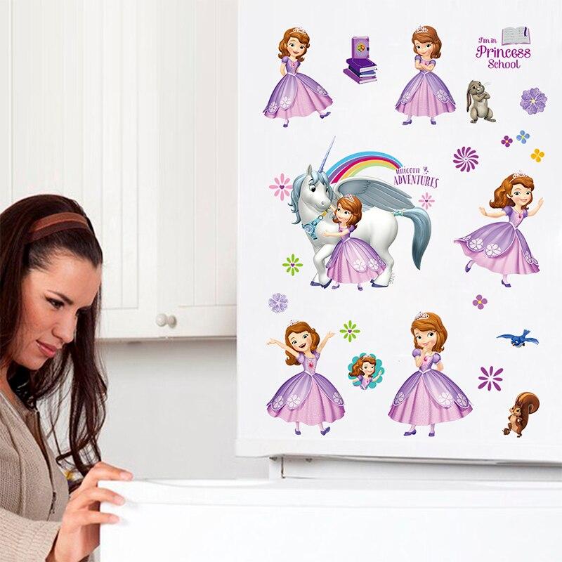 Unicórnio dos desenhos animados Princesa Aventura PVC Adesivos de Parede Para Quartos de Crianças Decalques de Parede Decoração Do Quarto Vivendo Quartos DIY Decoração Mural