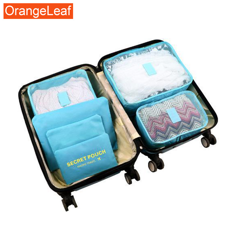 6PCS/Set Oxford Cloth Travel Mesh Bag In Bag High Quality Luggage Organizer Packing Cube Organiser For Clothing