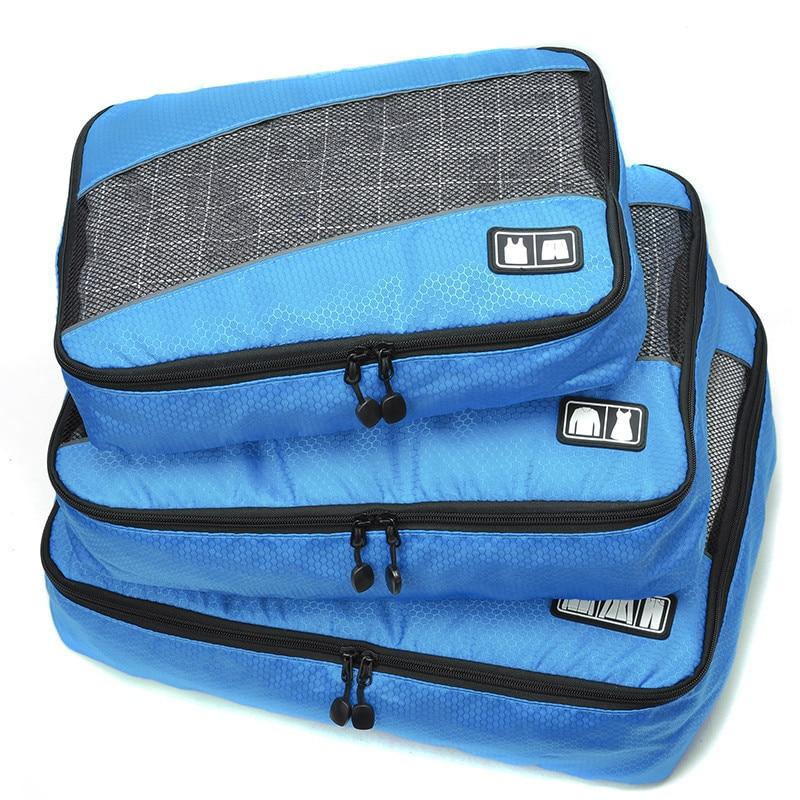 3 pezzi / set uomini borsa da viaggio donna maschio poliestere femminile imballaggio cubetti di viaggio bagagli organizzatore cubo organizer borsa impermeabile
