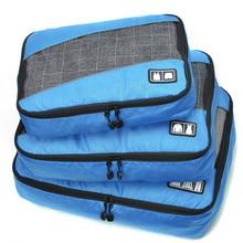 3 Pcs/Set Men Women Travel Bag Male Female Polyester Packing Cubes Travel Luggage Organizer Cube Waterproof Bag Organizers
