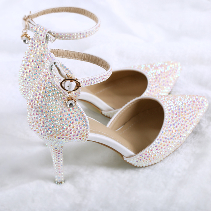 Crystal wedding sandals pointed female new word buckle crystal wedding dress bridal shoes rhinestone elegant high heels new pink red rhinestone diamond bride s shoes super high heels crystal bowl wedding shoes elegant sandals female pumps feminina