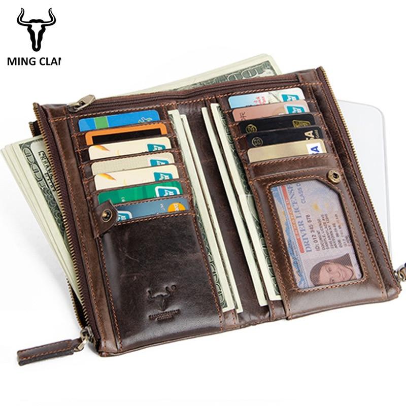 Mingclan Genuine Leather Women Or Men Wallet Lady Long Wallet Female Coin Purse Clamp Money Purse Clutch Handy Portomonee Rfid