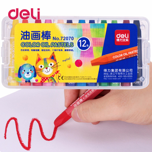 Deli 1pcs 12 colors/box color oil pastel Crayons Artist drawing pens for kids professional wax crayon school supplies stationery