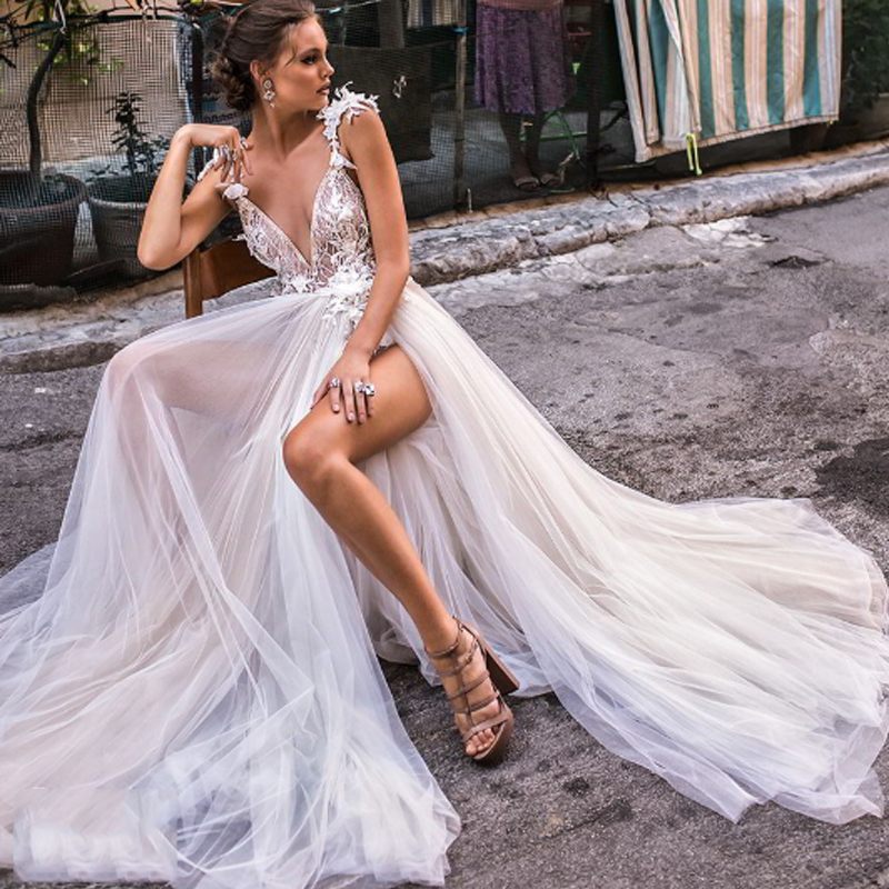 Smileven Boho A Line Wedding Dress Backless Lace Bride Dress Sexy V Neck 2019 Lace Appliques Boho Long Bridal Gown