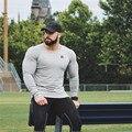 Осенняя спортивная мужская быстросохнущая рубашка Рашгард с длинным рукавом, компрессионный Топ для фитнеса, Спортивная футболка для спортзала и бега, мужские футболки, топы, Джерси - фото