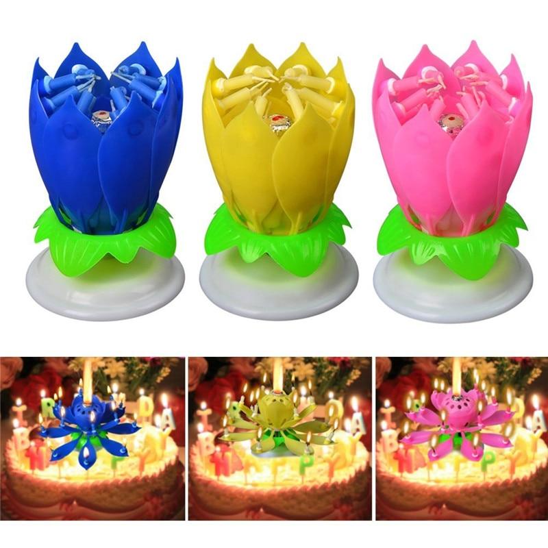 3Pcs/Set Fahion Amazing Musical Lotus Flower Candle ...