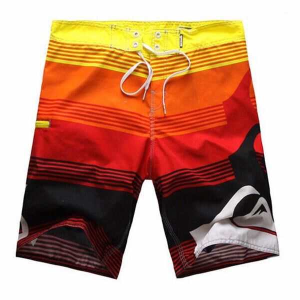 Mens Swim Trunks Lithuania Flag Weave Quick Dry Beach Board Shorts with Mesh Lining