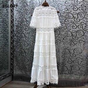 Женское длинное платье с оборками на воротнике, белое ажурное платье макси с вышивкой и рукавом до локтя, осень 2019