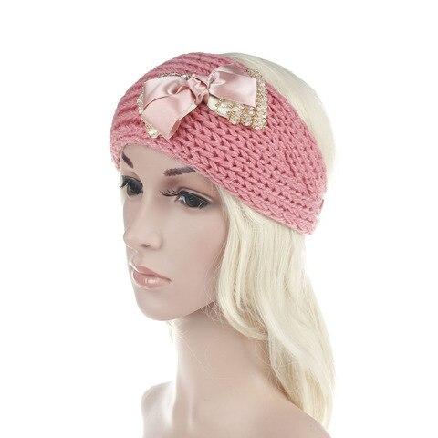 Bowknot do Vintage Acessórios de Natal Novas Mulheres Headband Feito Malha Handmade Inverno Quente Strass Hairband 10 Pcs 2020