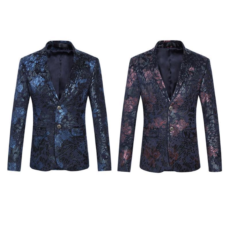 030043a414a0 Veste D'affaires Floral De Mode Base Fit Slim Homme Motif Casual Blazer  Costume Stylé Bleu Costumes Mâle Hommes Revers ...