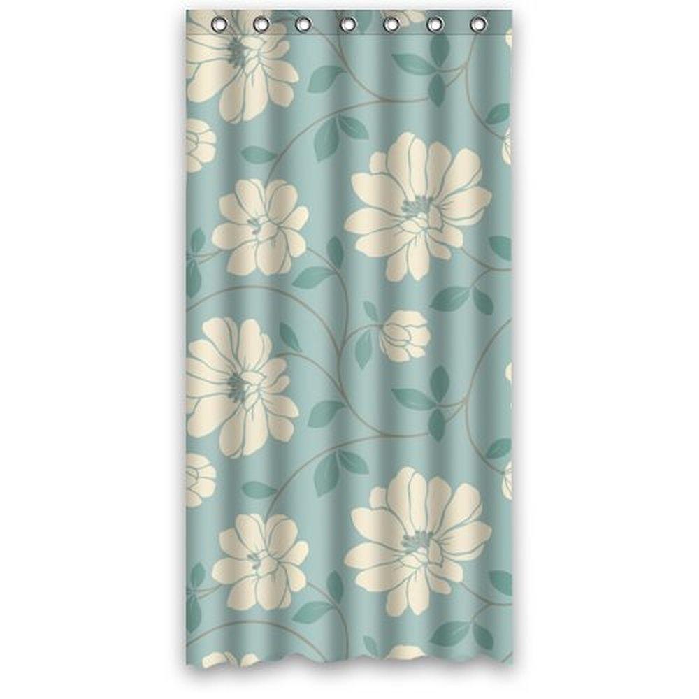 36(Width)x 72(Height) Special Design Light Green Flower ...