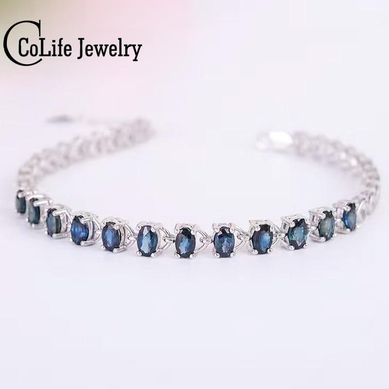 Promotion sapphire bracelet 12 pcs 3 6ct natural dark blue sapphire gemstone bracelet solid 925 silver