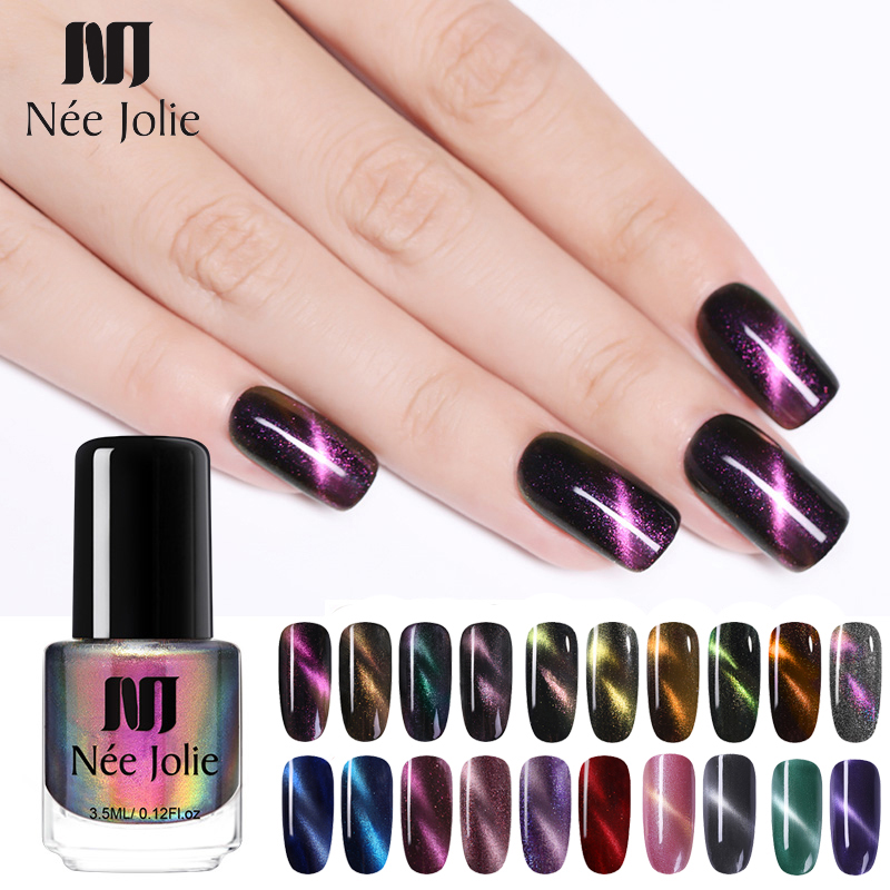 NEE JOLIE 3 5ml 7 5ml Magnetic Cat Eye Nail Polish Holographic Chameleon Cat Eyes Nail Art Varnish Lacquer 22 Colors Available in Nail Polish from Beauty Health