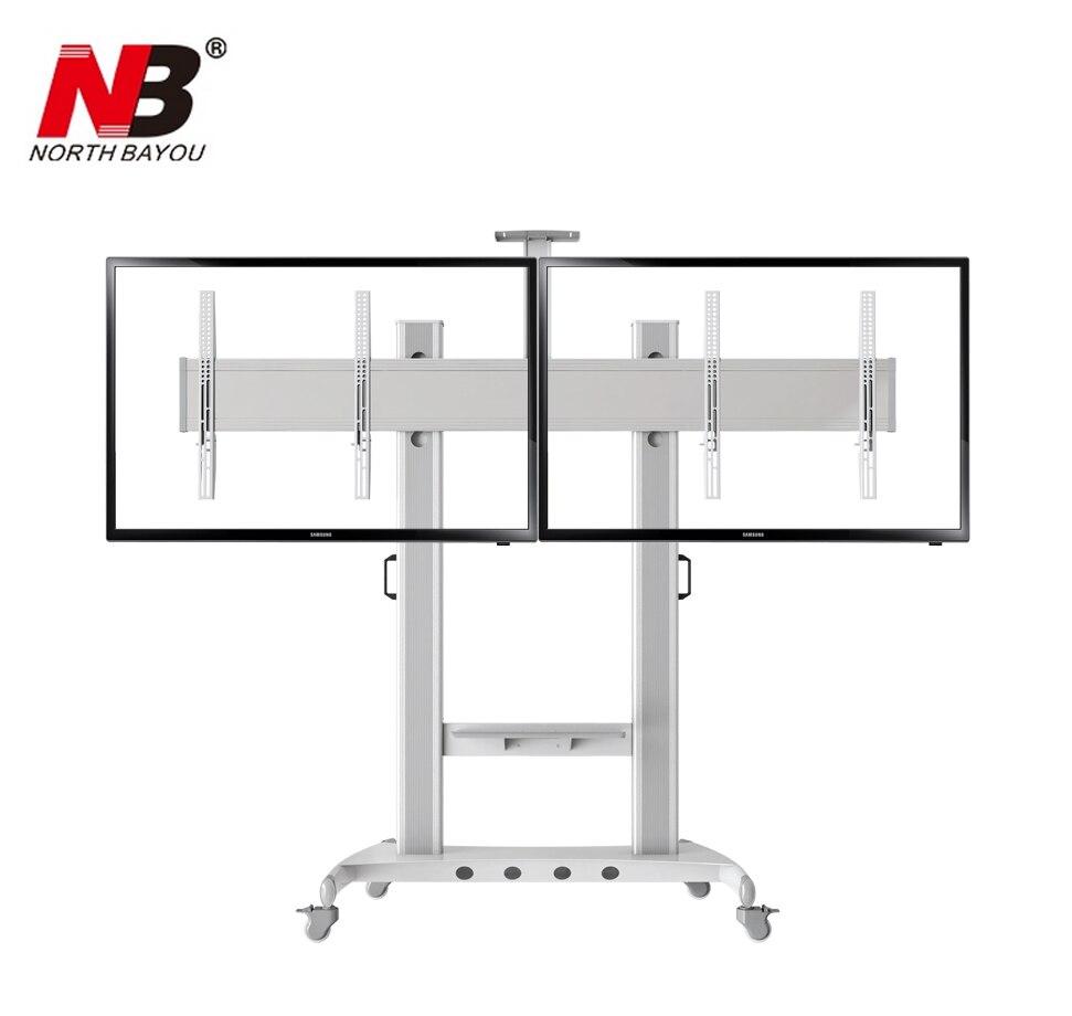 NB AVT1800 60 2A Dual Screen TV Mobile Cart 40 60 LED LCD Plasma TV Mount Trolley Stand With AV Shelf And Camera Holder