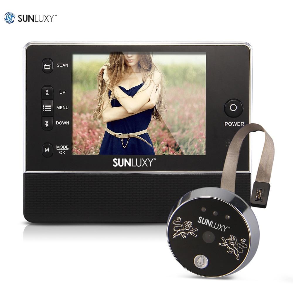 SUNLUXY 3.5 inch Video Intercom Color Digital LCD Peephole Door Viewer Camera Night Vision Video Record 90 Degrees Doorbell Ring