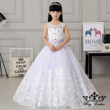 2017 100% real photo free shipping Vintage ball gown Flower Girl Dresses  Floor Length wedding Christmas gift birthday dress