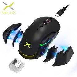 Delux M627 PMW3389 Sensor Wired + Draadloze Rgb Gaming Muis 16000 Dpi 8 Knoppen Links En Rechts Muizen Met diy Side Vleugels