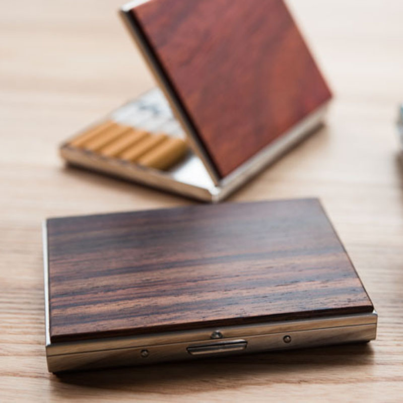 Rare Wood Cigarette Box Creative Personality Ultra-thin Solid Wood Cigarette Case Business Gift Cigarette Case wood