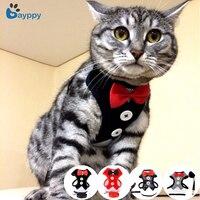 Élégant chat chien harnais gilet avec laisse noeud papillon réglable costume smoking mignon nœud papillon chat harnais laisse ensemble pour chats chaton chiot
