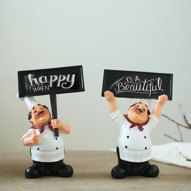 AIBEI Resin Cafe Kitchen Chef Decor 1PC Fashion Creative Western Restaurant  Cook Figurine Welcome Blackboard