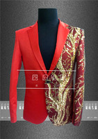 2015 male costume fashion costume male red gold network paillette suit costume for singer dancer star nightclub performance show
